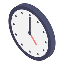 Wall Clock Icon. Isometric Of Wall Clock Vector Icon For Web Design Isolated On White Background