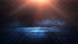 Leinwanddruck Bild - Empty background scene. Dark street reflection on the wet pavement. Rays neon light in the dark, neon figures, smoke. Night view of the street, the city. Abstract dark background. Abstract spotlight.
