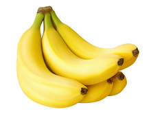 Five Bananas Isolated On White...