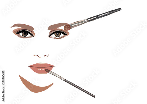 Cuadros en Lienzo  woman putting make up on face with brush