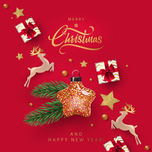 Merry Christmas And Happy New Year Design In Modern Minimalist Style With Pearl Deer, Gold Star Shaped Christmas Toy Full Of Little Stars, Gift Boxes And Realistic Fir Branch On Red Background.