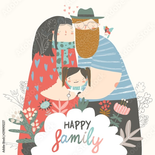 Happy family. Father, mother and daughter. Parents are keeping on the hands of their child