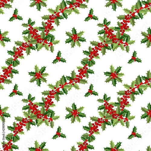 fototapeta na szkło Christmas seamless pattern with holly berries on white background, vector illustration.