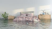 3d Illustration - Überschwemmtes Schlafzimmer - Wasserschaden - Hochwasser