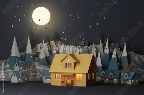 Foto auf Gartenposter Grau Verkehrs Beautiful Christmas, A yellow house winter snowy landscape background in night theme with full moon and mountains and low poly fir trees. 3d rendering