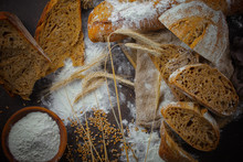 Bread Products On The Table In Composition - Close-up