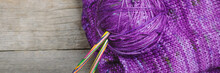 Threads For Knitting On Wooden...