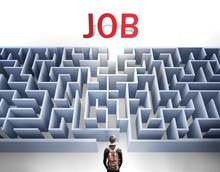 Job Can Be Hard To Get - Pictured As A Word Job And A Maze To Symbolize That There Is A Long And Difficult Path To Achieve And Reach Job, 3d Illustration