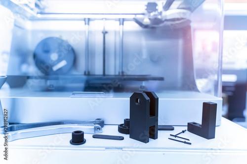 Fotografia  Object printed on metal 3d printer close-up.