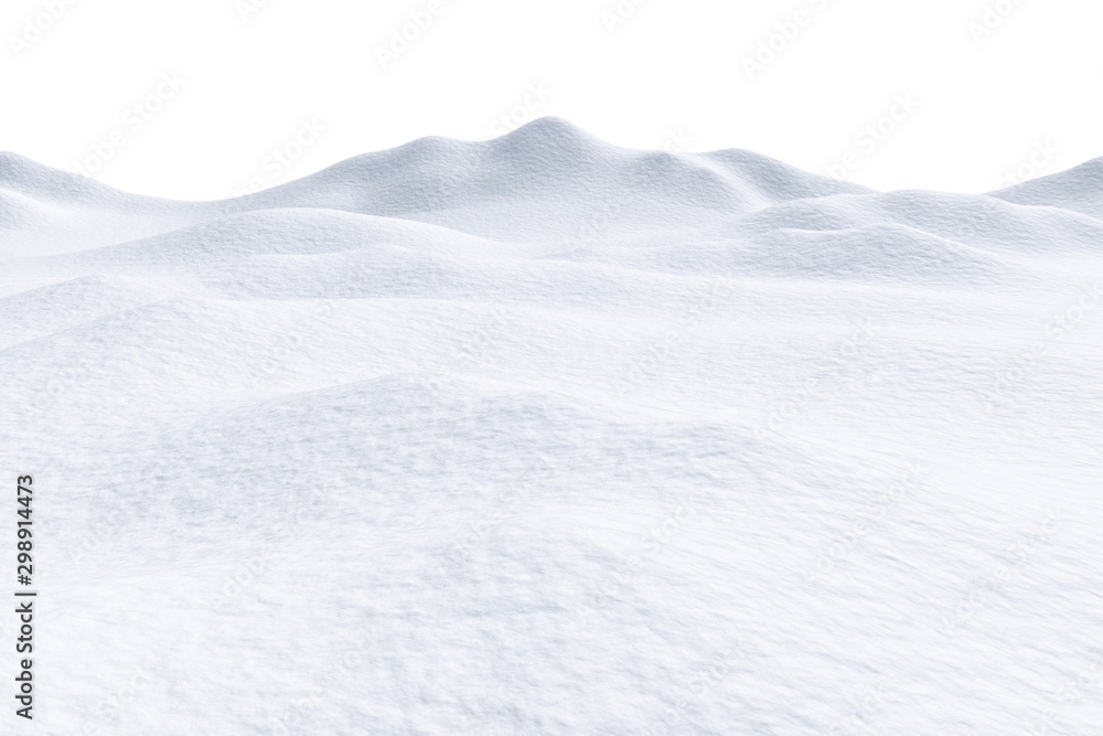 Fototapety, obrazy: Snow hills isolated on white background