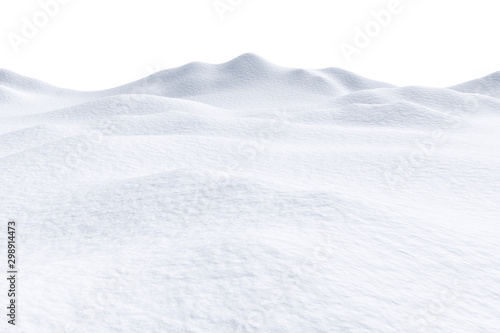 Foto auf Gartenposter Weiß Snow hills isolated on white background