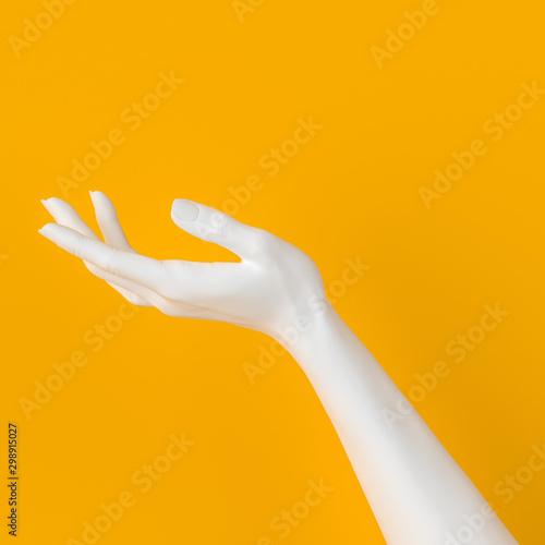Fotografiet White open hand sculpture giving, holding, take or showing something gesture iso