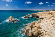 Bridge Of Lovers Or Monk Seal Arch, Stone Cliffs In The Mediterranean Sea In Ayia Napa, Cyprus.