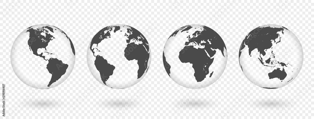 Fototapeta Set of transparent globes of Earth. Realistic world map in globe shape with transparent texture and shadow
