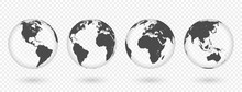Set Of Transparent Globes Of E...