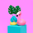 canvas print picture - Beach vacation vibes. .Fashion Flamingo. Vacation minimal cocept