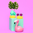 canvas print picture - Beach vacation mood..Fashion Flamingo. Vacation minimal cocept