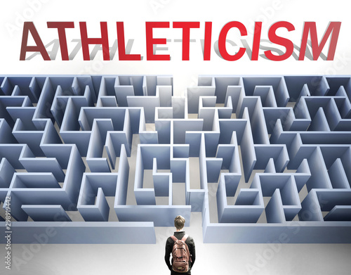 Photo Athleticism can be hard to get - pictured as a word Athleticism and a maze to sy