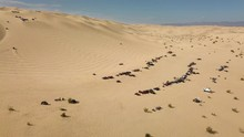 Off-road Vehicles Driving Olsdmobile Hill, Glamis Sand Dunes In California, Aerial
