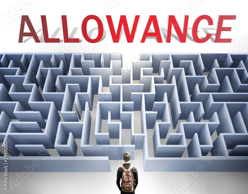 Allowance can be hard to get - pictured as a word Allowance and a maze to symbol Canvas Print