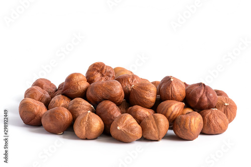 Papel de parede Hazelnuts without shell on a white background, isolated