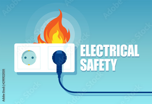 Leinwand Poster Vector of an electric faulty outlet and a plug on fire from short circuit