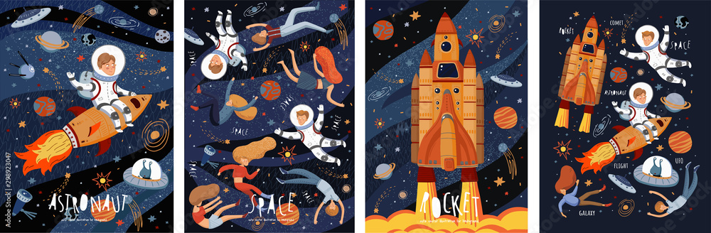 Fototapeta Space! Vector cute illustration of an astronaut, spaceship, rocket, alien, UFO, sky and people for background, card or poster. Children's drawings of the starry sky and galaxy.