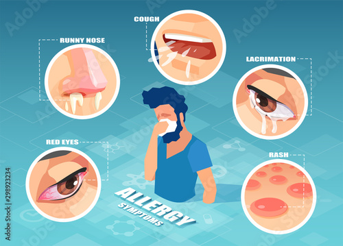 Fotografie, Obraz Vector of a sick sneezing man having cough, skin rash, runny nose, sore eyes