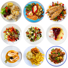 Collage Of Meals On Round Plates