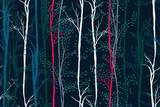 Kreatywny wzór świąteczny w drzewach zielonym, czerwonym, niebieskim, białym. Kwiatowy bezszwowe tło z ręcznie rysowane lasu. Kolorowy druk artystyczny na tekstyliach, okładkach książek, tapetach, opakowaniach prezentów ... Wektor. - 298924856