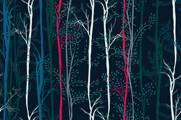 FototapetaCreative Christmas pattern in green, red, blue, white trees. Floral seamless background with hand drawn forest. Colorful artistic print for textile, book covers, wallpapers, gift wrap... Vector.