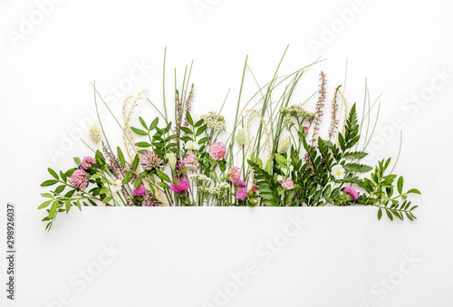 Natural herbs background, summer spa concept or minimalist greeting card - 298926037