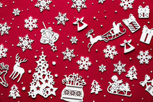 Merry Christmas Pattern Concept, Merry Xmas Made Of White 2020 Happy New Year Winter Collage Festive Holiday Decorations Ornament Wooden Toys Top View Isolated On Red Background Table, Flat Lay
