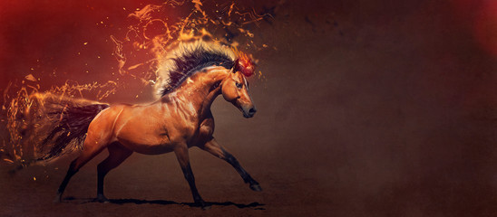 Powerful stallion galloping. Concept illustration