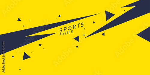 Sports poster. Abstract background with dynamic shapes. Vector template
