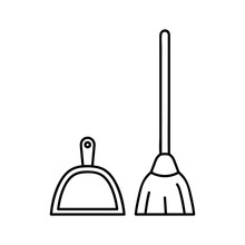 Broom And Dustpan Icon. Outlin...