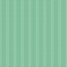 Dense Vertical Wicker Design With White Hand Drawn Elements. Seamless Geometric Vector Pattern On Blue Green Background. Great For Wellbeing, Spa Products, Summer, Spring, Packaging, Stationery,