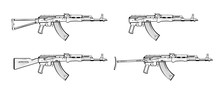 Kalashnikov Rifle. Firearms. Sketch Set Of Kalashnikov Assault Rifle AK-47, AKM, AKC, AKMC, AK-74. Firearms In Combat. Assault Gun Wireframe. Machine Guns. Assault Rifles. Vector Graphics To Design