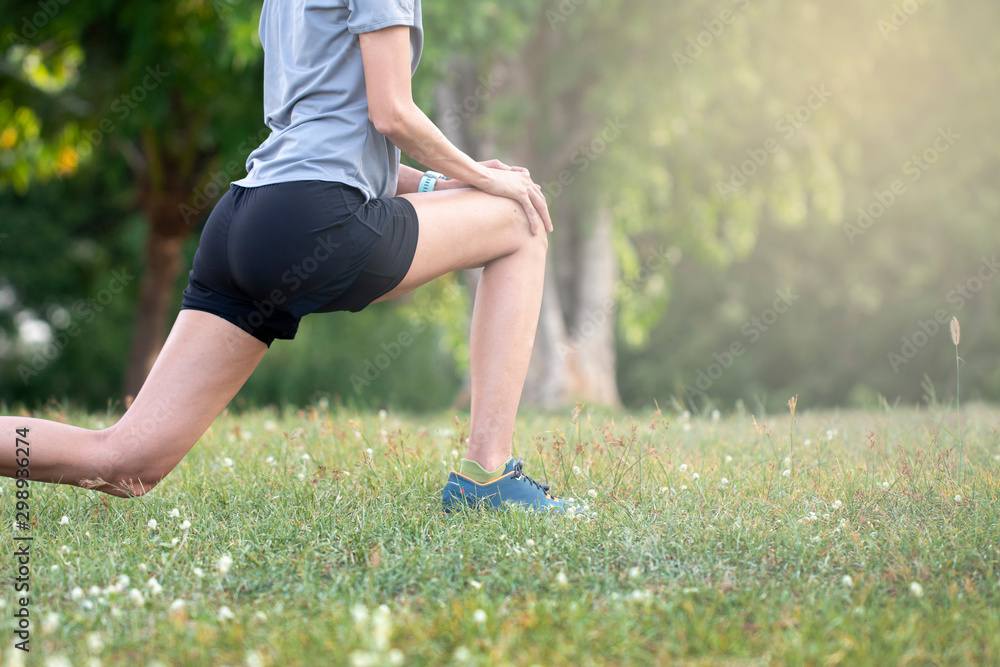 Fototapety, obrazy: Healthy lifestyle sports, Young female workout before fitness training at the park