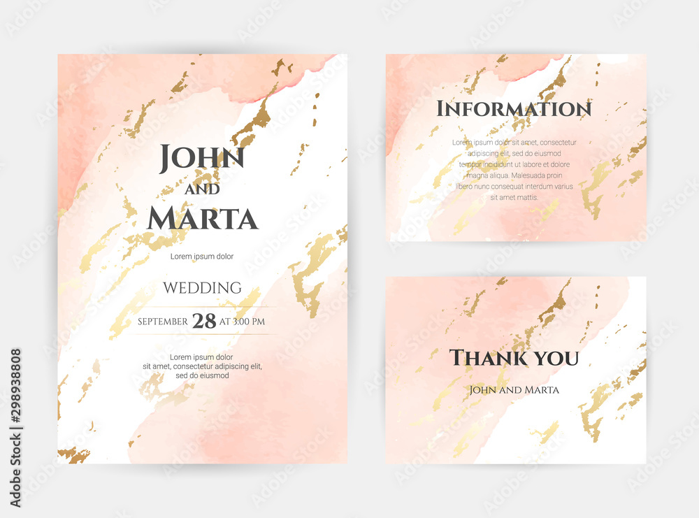 Fototapety, obrazy: wedding invitation templates. Cover design with gold ornaments. set with hand drawn watercolor background. Trendy templates for banner, flyer, poster, greeting. eps10