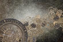 Steampunk Grunge Clock Backdro...