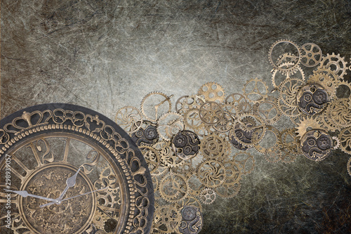 Lerretsbilde steampunk grunge clock backdrop brown - time written gear