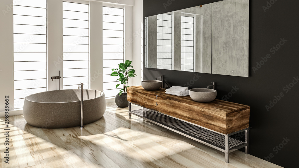Fototapeta Modern bathroom interior with stone bathtub and wooden sink. 3d Rendering