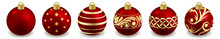 Set Of Christmas Balls Isolated On White. Toys For New Year Or Christmas Tree Design, Red Balls Ornate With Golden Pattern