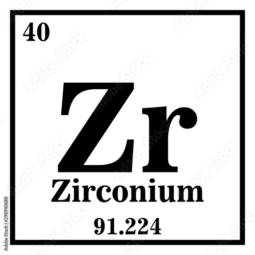 Fotografia, Obraz Zirconium Periodic Table of the Elements Vector illustration eps 10