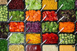 Leinwandbild Motiv Salad bar with different fresh ingredients as background, top view