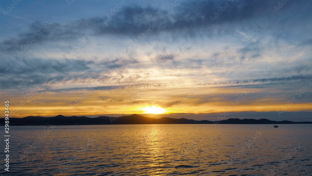 Sunset over the sea, Zadar Croatia