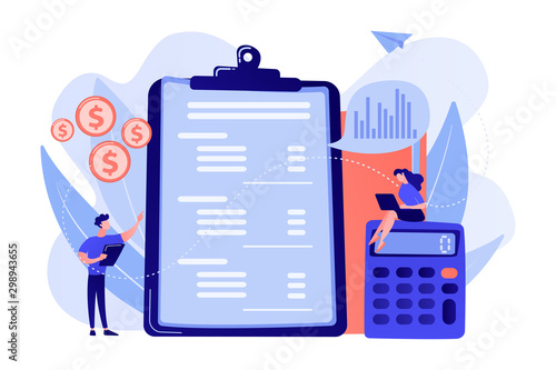 Fototapeta Financial analysts doing income statement with calculator and laptop. Income statement, company financial statement, balance sheet concept. Pink coral blue vector isolated illustration obraz