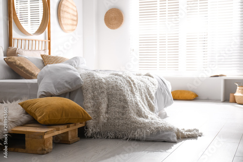 Stylish modern room interior with  comfortable bed Wallpaper Mural