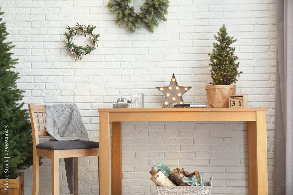 Fototapety, obrazy: Wooden furniture with Christmas decor in room